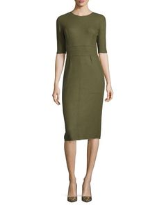 LELA ROSE REVERSIBLE CASHMERE HALF-SLEEVE DRESS, OLIVE/TAUPE. #lelarose #cloth #