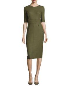 LELA ROSE REVERSIBLE CASHMERE HALF-SLEEVE DRESS, OLIVE/TAUPE. #lelarose #cloth #