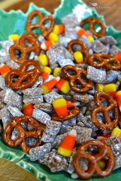 Candy Corn Snack Mix 9 cups of Chex cereal - I used rice and corn 1 cup of semi-sweet chocolate morsels 1//2 cup peanut butter 1/2 cup ...