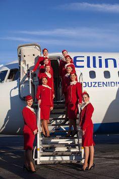 Attractive on steps of My Future Job, Airline Uniforms, Flight Attendant Life, Domestic Flights, Cabin Crew, These Girls, Greece, Seasons, Popular
