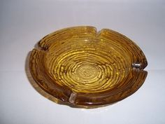 Vintage Anchor Hocking Soreno Amber Gold Small Ashtray Excellent Condition