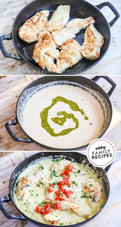 Chicken with Pesto Cream Sauce · Easy Family Recipes Chef Recipes, Side Dish Recipes, Cooking Recipes, Bacon Recipes, Ground Chicken Recipes, Easy Chicken Dinner Recipes, Recipes Dinner, Easy Family Dinners, Easy Meals