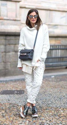 Street Style_roll neck sloppy joe sweater worn with classic shirt & decorative denim | Saved by Gabby Fincham |