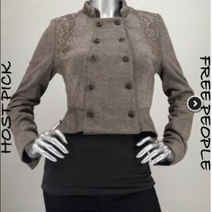 NWT Free People Victorian Dbl Breasted Jacket 6 NWT Free People Victorian Jacket Size 6. Double breasted jacket that flares away from the body at the bottom. Lace detail at shoulders and collar. I'm offering 30% off 2 items or more OR 4/$20 on the red dot items. Also, you can use the red dot items to make my discount of 30% off 2 items or more kick in  Free People Jackets & Coats Blazers