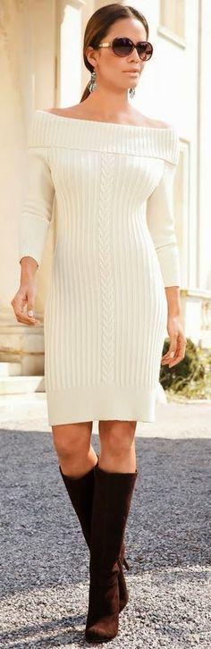 Krem Triko Elbise Modelleri Şık ve Dikkat Çekici 2018 Kazak Elbiseler