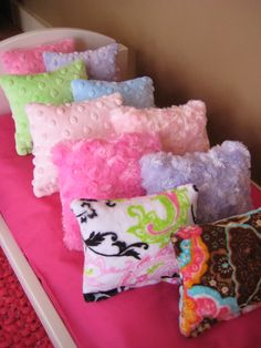 AMERICAN GIRL PILLOWS! GREAT IDEA...SO CUTE! Doll Pillow/ Bedding for American Girl Doll Beds by solarwood7222