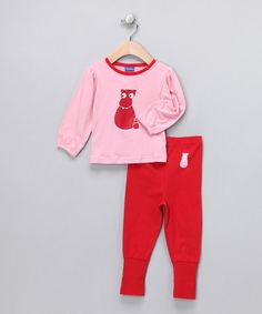Pink & Red Hippo Top & Pants