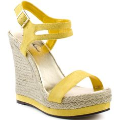 Soak up the sun in these captivating wedges from Michael Antonio. Galena is a 4 1/2 inch espadrille wedge with yellow trim on the bottom of this 1 inch platfor…