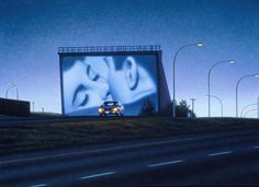 dreamy drive-in movie theater paintings portray silver screen stars