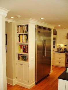 Image result for bookshelf on side of refrigerator in kitchen