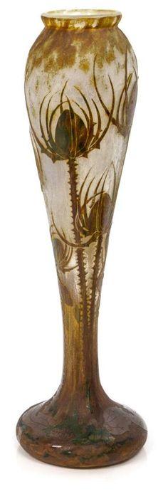DAUM NANCY CAMEO ART GLASS THISTLE DECORATED VASE