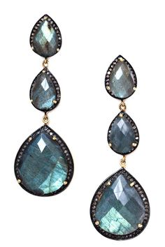 Teardrop Labradorite & Diamond Triple Drop Earrings