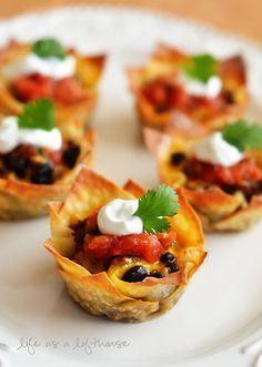Taco Cupcakes.  Great for the B&B's cocktail hour!!  I love wonton wrappers....