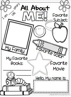 Use this All About Me sheet as a beginning of year activity. Students can work on this as they are walking into the classroom on the first day of school, while you are busy talking to parents and getting others settled. This sheet can also be used as a gu First Day Of School Activities, 1st Day Of School, Beginning Of The School Year, School Tips, All About Me Activities, School School, All About Me Preschool Theme, School Ideas, All About Me Crafts