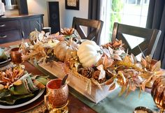 Thanksgiving is almost upon us here in Canada. This year, Thanksgiving falls on October 8 which is the earliest it can ever be (alw. Thanksgiving Centerpieces, Inspire Me, Flower Power, Fall, Autumn, Table Settings, Copper, October 8, Rustic