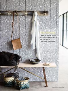 Herringbone wallpaper from ferm LIVING bei : www. Ferm Living Wallpaper, Hallway Wallpaper, Wallpaper Ideas, Hallway Pictures, Hallway Ideas, Decoration Hall, Narrow Hallway Decorating, Herringbone Wallpaper, Hallway Bench