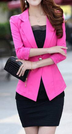 Long Sleeves Refreshing Style Polyester Color Block Women's Blazer ...