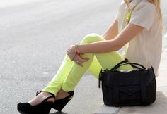 Is she skinny or do the neon yellow pants make her look skinny? If it's the latter, I'm buying three pair!