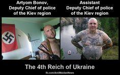"""Ukraine+ Kiew + Reg.+ Reformen umsetzen!  POLIZEI-CHEF   (links) POLIZEI-CHEF-  Stelvertretender   (rechts)      Zuvor waren beide: schon immer ...  Neo-nazi - Big-Member im Batallion   """" AZOW """"   !"""