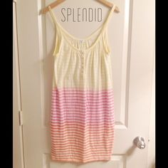 Splendid Rainbow Striped Tank Dress Cover-Up Splendid Rainbow Striped Tank Dress. Perfect cover up for the beach or pool. Buttons line the front. Some threading came loose on the hem in one small area shown in last pic. Otherwise good condition. Does show signs of use due to washes but just by some mild piling. Selling for my mom so price is final. Splendid Dresses