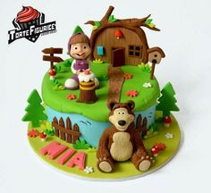 Images About Masha And The Bear Cakes On Cakes Design Bithday Cake, 3rd Birthday Cakes, Bear Birthday, Boy Birthday Parties, 3d Cakes, Cupcake Cakes, Masha Et Mishka, Masha Cake, Marsha And The Bear