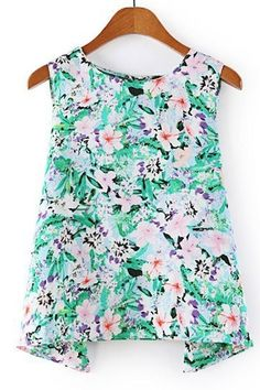 Green Floral Blouse OASAP.com