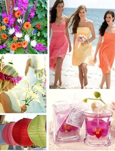 Delicious shades of coral, tangelo, and shrimp add a bright tropical flaire to your beach wedding venue, and are absolutely enchanting on your bridesmaids.
