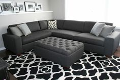Charcoal Custom Sectional with Tuffted Ottoman