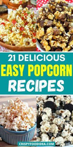 Healthy Popcorn, Gourmet Popcorn, Popcorn Recipes, Snack Recipes, Cooking Recipes, Healthy Desserts For Kids, Healthy Snacks, Savory Snacks, Yummy Snacks