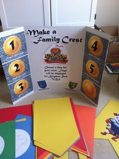 To build excitement for VBS, put out materials for families to create their own Family Crest on a banner. Provide a sheet giving background on meanings for colors and symbols as well as websites they can visit when designing their crest.  Have families return theses the week before VBS and use them to decorate the halls.