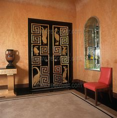 Art Deco Egyptian-themed doorway - brilliant! I feel creative in this room.