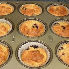 Banana - Blueberry Muffin from Wheat Belly Recipe - ZipList Wheat Belly Recipes, Wheat Free Recipes, Almond Recipes, Flour Recipes, Wheat Free Baking, Gluten Free Baking, Banana Blueberry Muffins, Blue Berry Muffins, Real Food Recipes