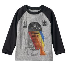 Toddler Boy Star Wars Colorblock Long Sleeve R2-D2 Spectrum Graphic Tee, Size: