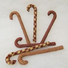 Set of 6 Homespun Fabric Covered Candy Canes for Christmas Holiday Decor - by Jubilee Creative Studio -- You can get more details by clicking on the image.