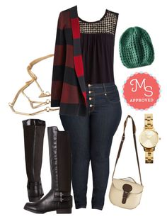 """Simply Snuggly Cardigan"" by modcloth ❤ liked on Polyvore featuring Brit-Stitch and Olivia Burton"