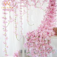 Festive & Party Supplies Hearty 200cm Fake Sakura Cherry Blossom Flowers Rustic Wedding Decoration Rattan Wall Hanging Flower Garlands For Home Garden Decor With Traditional Methods
