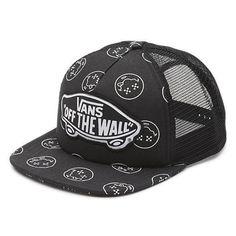 Vans Off The Wall Women s Beach Girl Trucker Hat Cap - Fun Guy (Black) 02fd1a97b347