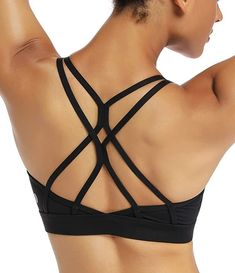 RUNNING GIRL Strappy Sports Bra for Women Sexy Crisscross Back Light Support Yoga Bra with Removable Cups Underwire Sports Bras, Racerback Sports Bra, Women's Sports Bras, Workout Wear, Workout Shirts, Sportswear Store, Gym Bra, Yoga Bra, Morning Yoga