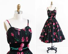 vintage 1950s dress / 50s dress / Black and Red Tulip Print Party Dress and Wrap