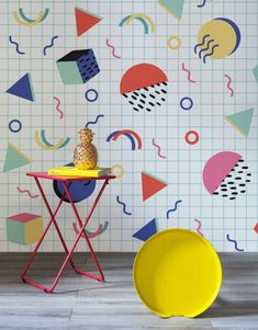 If you like geometric patterns, bold colours and retro inspired design, you might like this 80s wallpaper range from Murals Wallpaper. Check it out!