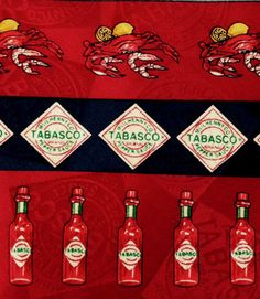 TABASCO 100% SILK TIE Red Hot Sauce Collectible Novelty Tie Lobster Crawfish  #TABASCO #Tie