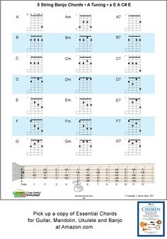 5 String Banjo Chord Chart, A Tuning, a, E, A, C# E, includes the major, minor and seventh chord fingerings. Includes a banjo fret board with all of the notes marked. The Banjo is an essential instrument in everyone's Bluegrass band and this chart will get you going. The 5 String Banjo A Tuning Chord chart is included in our book, Essential Chords for Guitar, Mandolin Ukulele and Banjo.