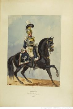 French; Garde Royale, 1st Cuirassier Regiment, 1825. A watercolour by Colonel Joly in the book 'Uniforms of the French troops under the Restoration, 1814-1830'