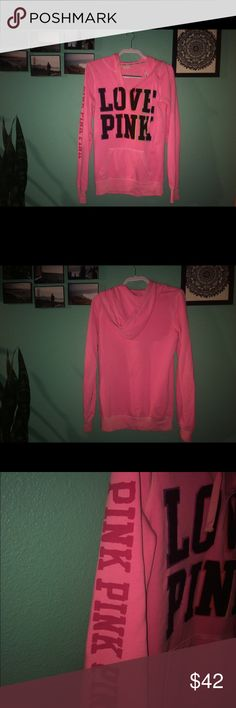 "PINK /VICTORIAS SECRET Pull Over Hoodie 💖 Hot pink with black/rainbow ""LOVE PINK"" pull over hoodie. Authentic PINK bought from the store firsthand. Gently used, almost perfect condition. Women's SMALL but fits me well and I'm a size Medium! The inside is soft and the color is very vibrant! Make me an offer! 💖💘 PINK Victoria's Secret Jackets & Coats"