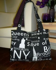 Black and White New York Print Pleated Tote Bag - by boutiquejane on madeit