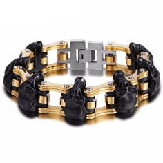 Skulls Biker Stainless Steel Bracelet