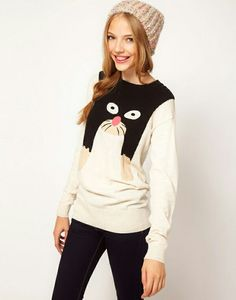 Black pants + cat print sweater