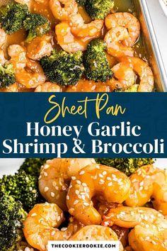 Garlic Honey Shrimp, Honey Garlic Sauce, Shrimp In The Oven, Oven Shrimp, Brocolli Recipes, Shrimp Dishes, Fish Dishes, Main Dishes, Seafood Recipes