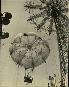 """parachute ceiling design"" in restaurant over bar  Coney Island, New York, 1944 (Marie Hansen)"