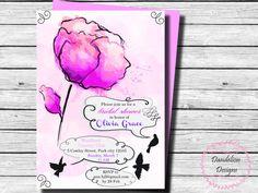 Bridal shower rose floral pink invitation bridal shower